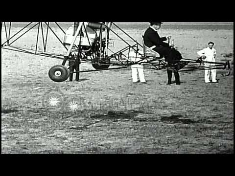Russian American aircraft designer Igor Sikorsky test flies the Vought-Sikorsky V...HD Stock Footage