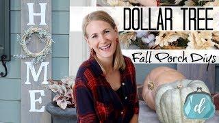 DOLLAR TREE FALL PORCH DIYS! 🌿 Farmhouse Wood Sign, Wreath & More!