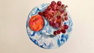 수채색연필과 마카로 그린 정물화 [Hay그릇과 사과,포…