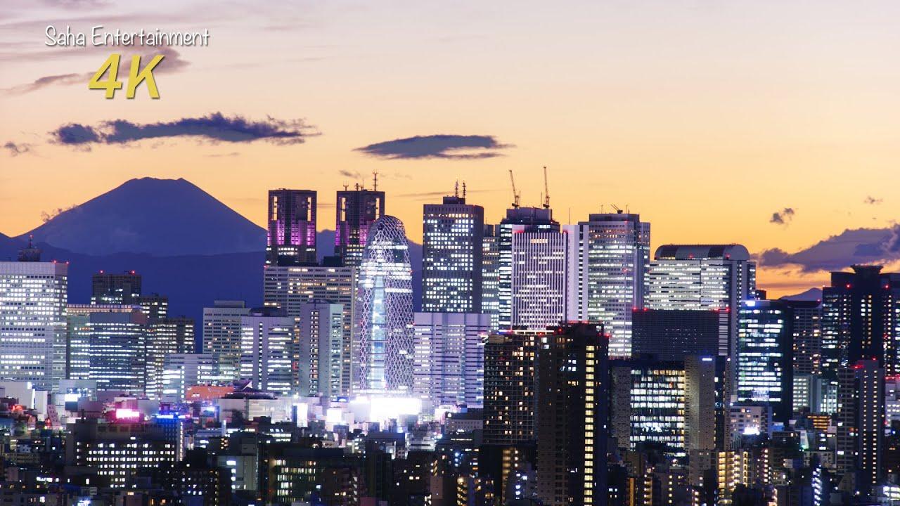 4k Ultra Hd 台風一過の東京 夜景 と 富士山 Typhoon Bring Beautiful Sky Mt