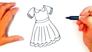 Como dibujar un Vestido paso a paso | Dibujo fácil de un Vestido
