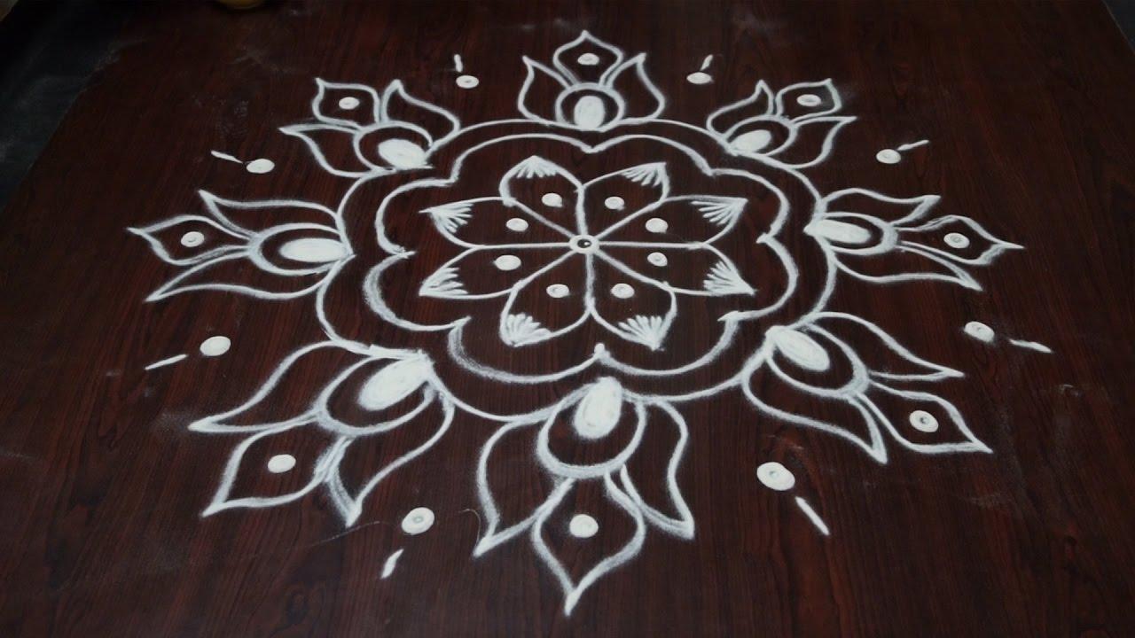 without colour rangoli || small muggulu designs without ...