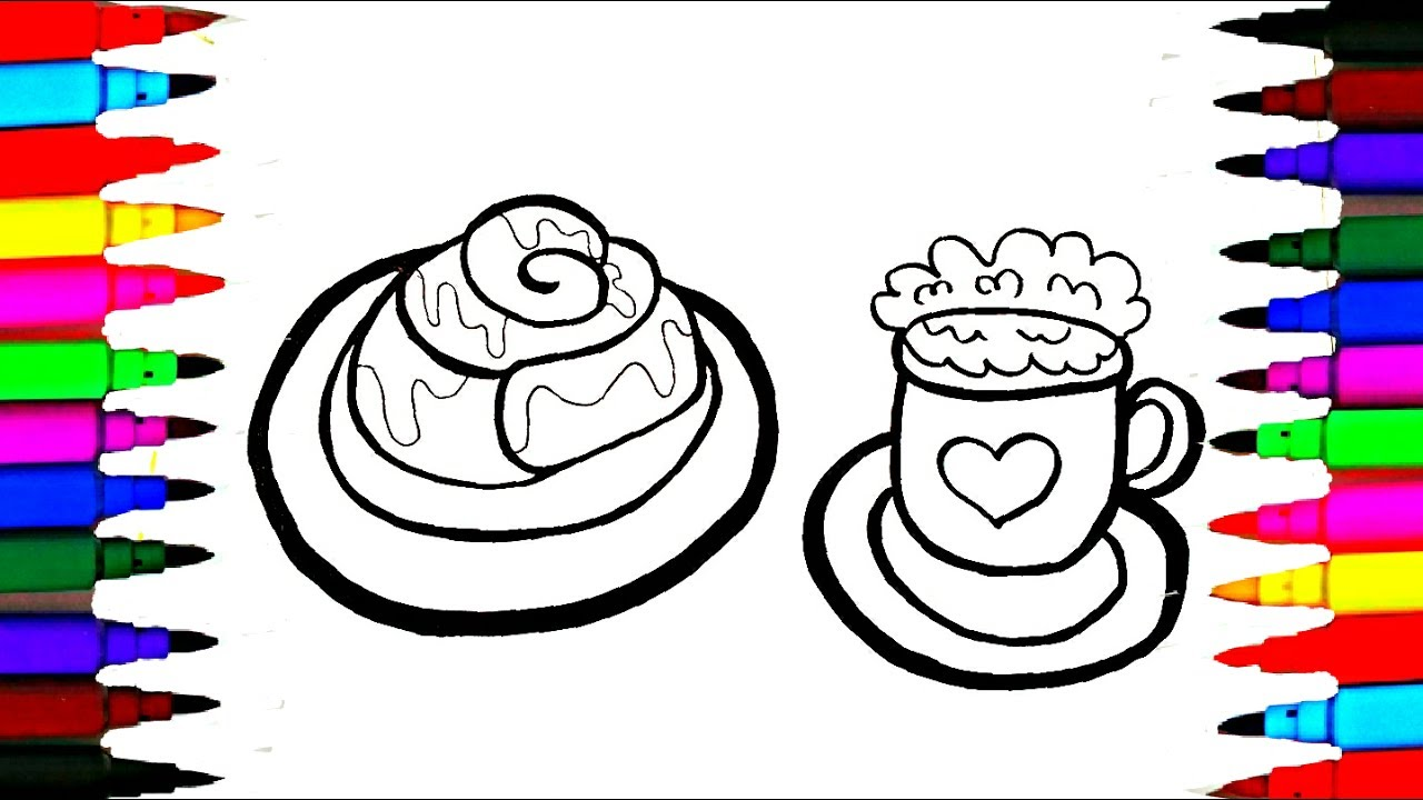 how to draw bakery bread cinamon roll l coloring pages for