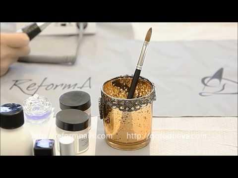Наращивание ногтей акрилом френч с удлинением ногтевой пластины на материалах ReformA®