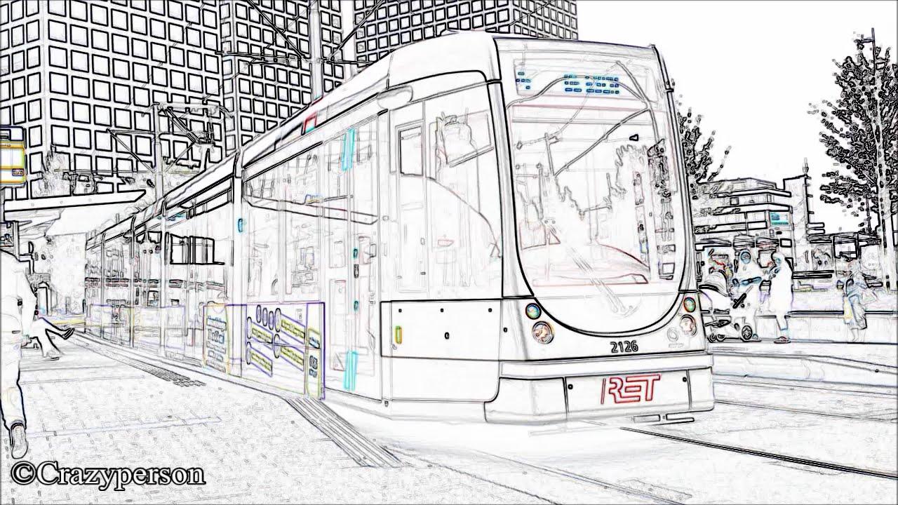 ret tram 2x citadis in lijntekening marconiplein