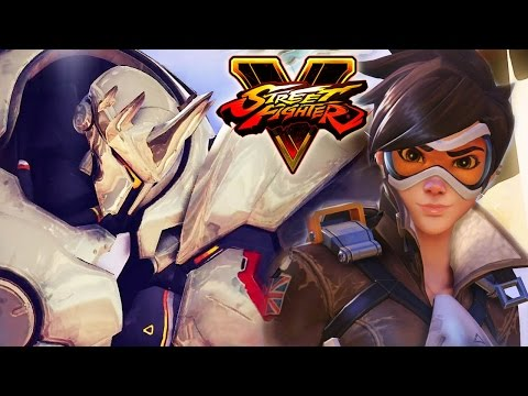 Street Fighter 5 - Reinhardt vs Tracer (Overwatch) Gameplay PC Mods @ 1080p (60fps) HD ✔