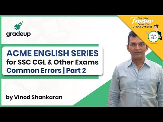 Acme English Series | SSC CGL & Other Exams | Common Errors Part 2 | Class 11