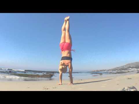 Yoga in Laguna Beach: Wide Leg Handstand Press
