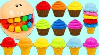 Learn Colors While Feeding Grandpa Play Doh Head Rainbow Ice Cream Scoops & Cupcakes!