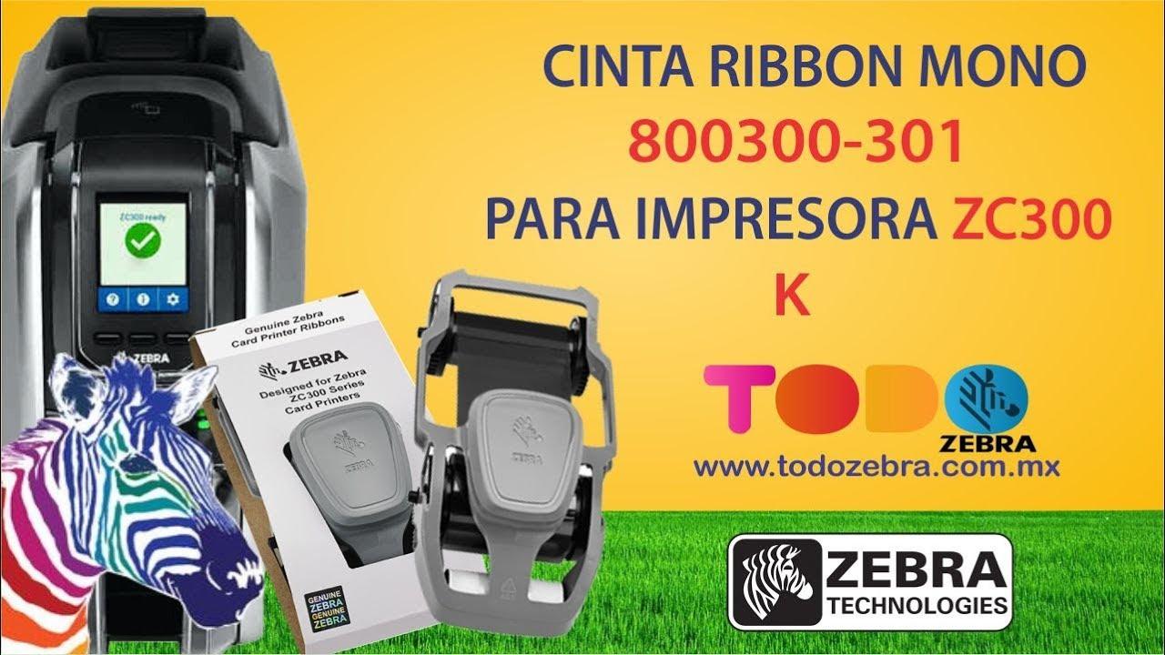 Mono Ribbon 2000 Images NEW for ZC100//300 Series Zebra 800300-301LA Black K