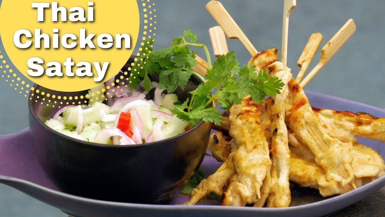 Thai food bbq chicken satay skewers recipe youtube forumfinder Images