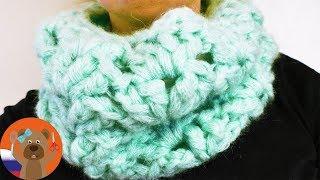 Пушистый легкий шарф с узором Ракушка из мохеровой пряжи   Вязание крючком для новичков