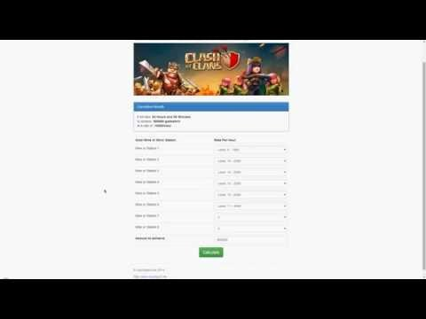 Clash of Clans Gold and Elixir Calculator