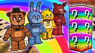 LUCKY RAINBOW BLOCKS FIVE NIGHTS AT FREDDYS MOD CHALLENGE - MINECRAFT MODDED MINI-GAME!