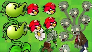 Angry Birds vs Zombies War - ONE PEASHOOTER SOLO ALL ZOMBIES!!