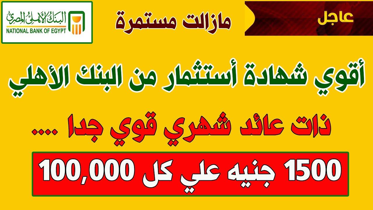 البنك الاهلي المصري يصدر شهادات استثمار ذات عائد قوي جدا 1000