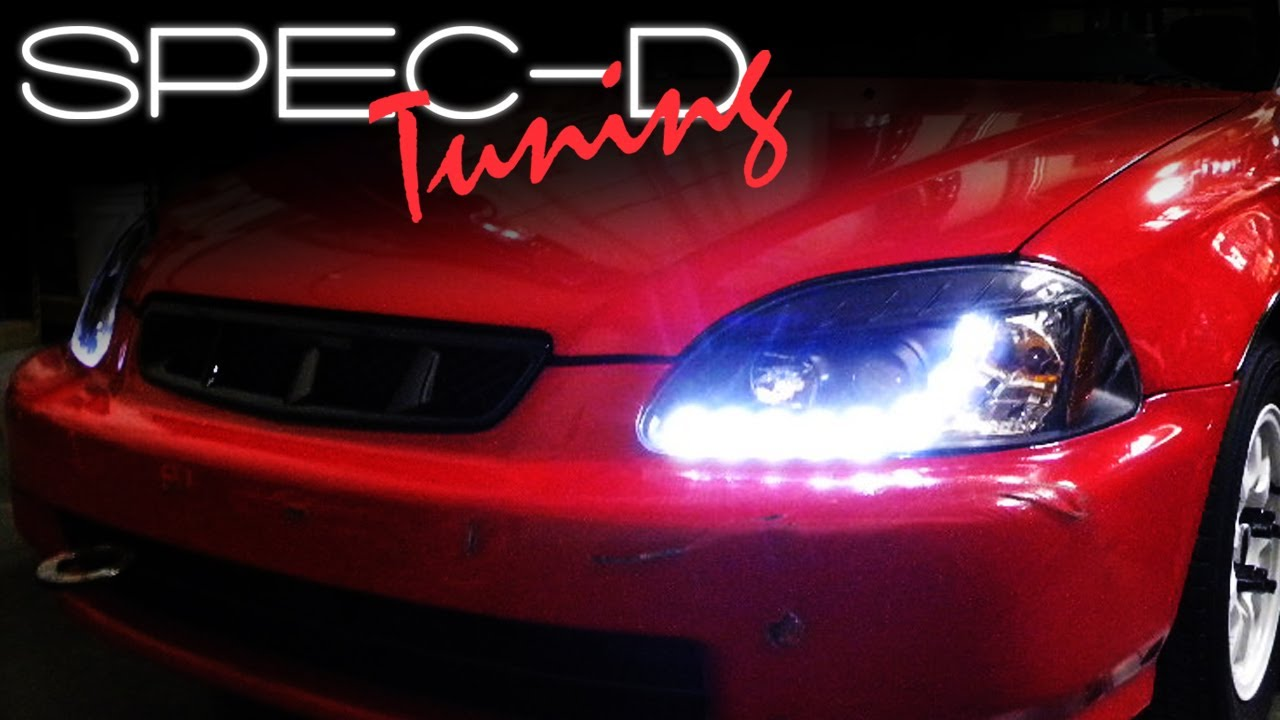 99 Civic Headlight Wiring Diagram Split Charge Relay Specdtuning Installation Video 1996 1998 Honda R8 Style Projector Head Lights Youtube