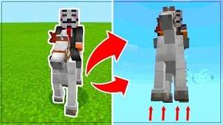 How To FLY a HORSE in Minecraft PE!! // Flying a Horse in Minecraft Pocket Edition