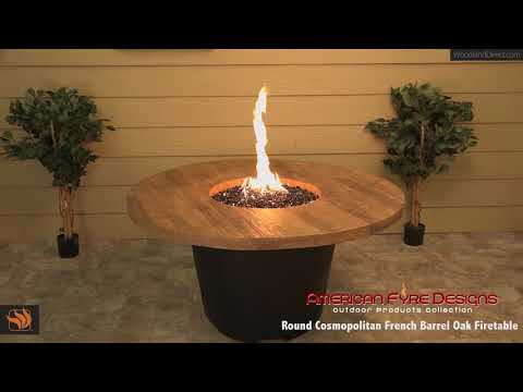 The Round Comsopolitan French Barrel Oak Fire Table by American Fyre Designs