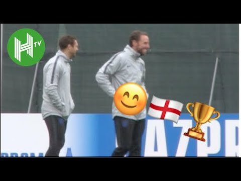 Gareth Southgate all smiles as England train following Colombia victory 🏴󠁧󠁢󠁥󠁮󠁧󠁿 | HaytersTV