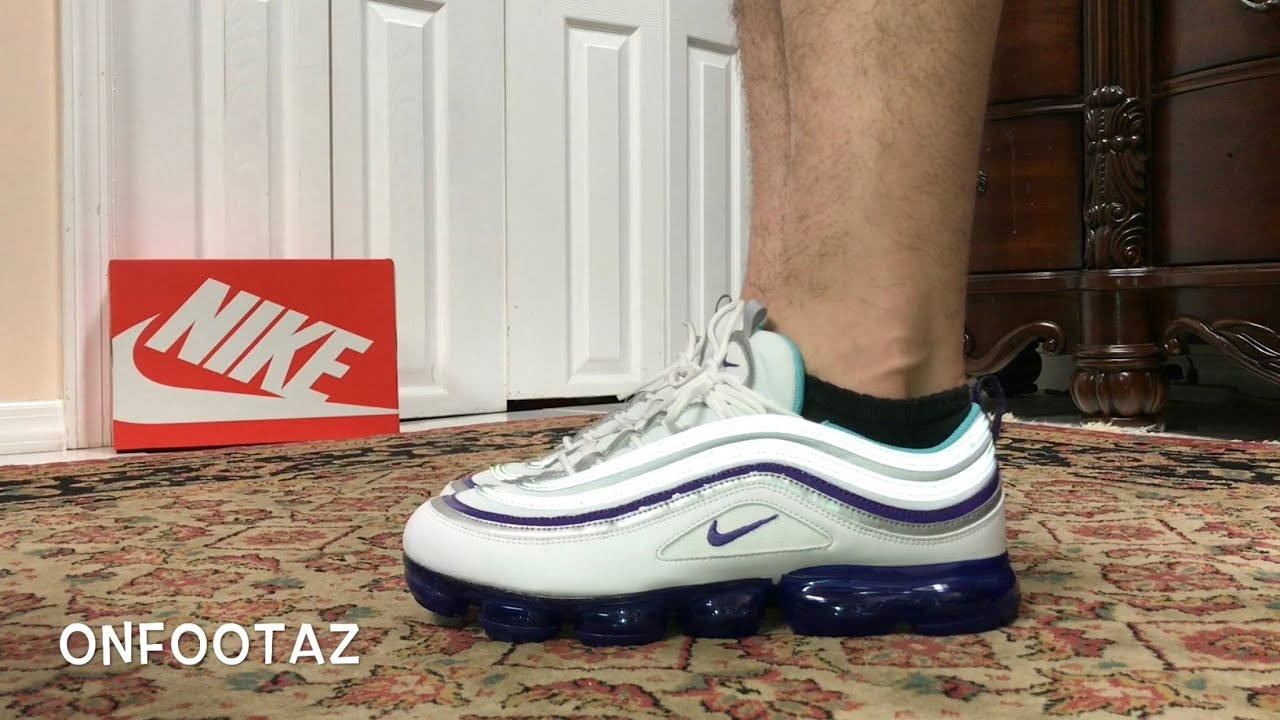 a8055a3c2273 Nike Air VaporMax 97 Grape White Varsity Purple On Foot - YouTube