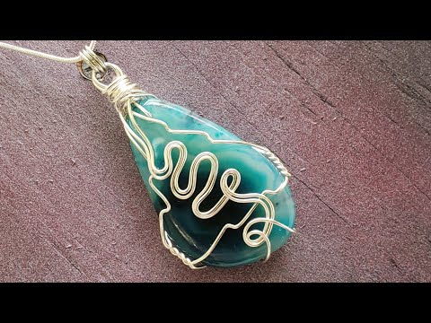 Simple Blue Agate Necklace Tutorial (Raw Wrap) - Eps 130