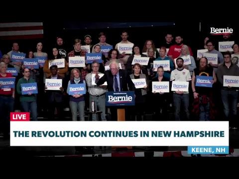 Bernie Rallies Supporters In Keene, New Hampshire