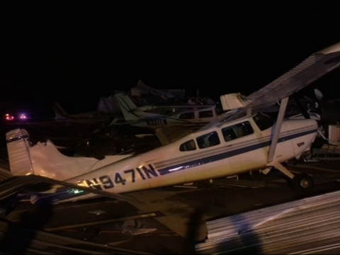 Raw: Kansas Airport Damaged In Storm