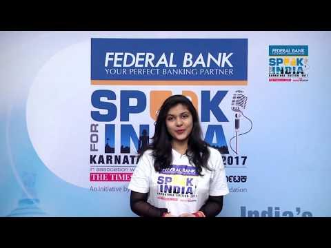 Gaurangi Shrivastava - Speak for India Karnataka edition 2017 Top 26 contestant
