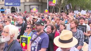 Aretha Brown speaks to protesters at 'Invasion Day' march in Melbourne