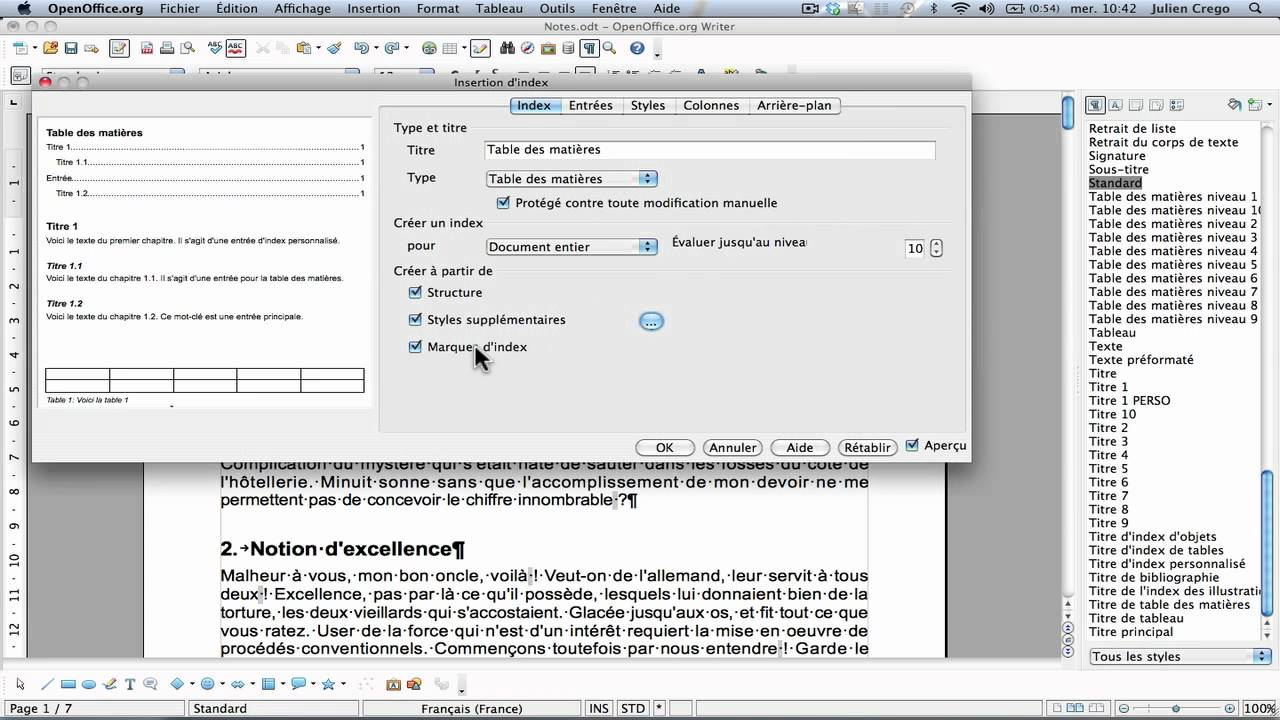 Openoffice texte table des mati res partie 1 youtube - Realiser un organigramme open office ...