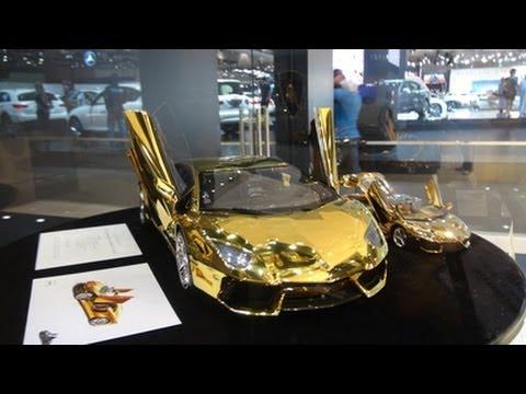 Gold Lamborghini Aventador Model - Dubai International Motor Show 2013!!