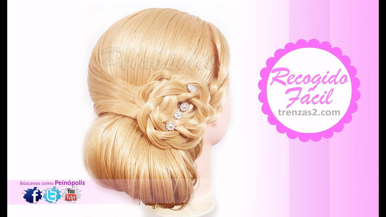 Peinados faciles y rapidos recogidos con trenza en flor - Peinados faciles y rapidos paso a paso ...