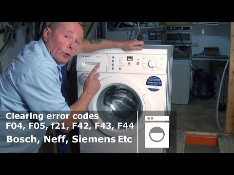 Bosch, Neff, Siemens washing machine clearing error code F04, F05, f21, F42, F43, F44
