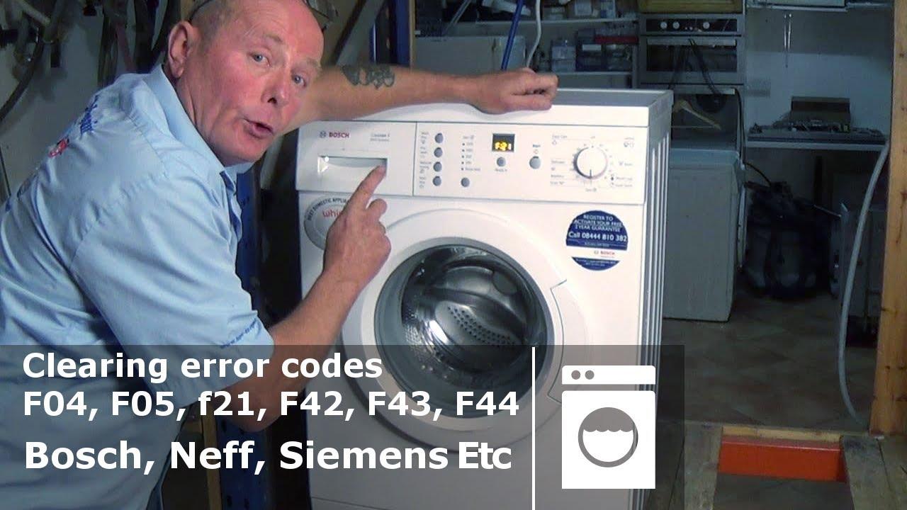 bosch neff siemens washing machine clearing error code f04 f05 f21 f42 f43 f44 youtube. Black Bedroom Furniture Sets. Home Design Ideas