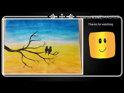 How to make silhouette landscape painting using Oil Pastel colors