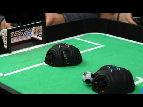 Introducing RoboSoccer: the world's first table soccer game with robot players.