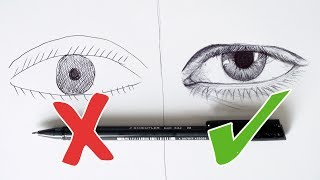 DO'S AND DON'TS - How To Draw A Realistic Eye - Ballpoint Pen - Step By Step Tutorial - DeMoose Art