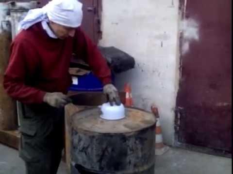 Печка на отработке своими руками из бочки 200 л. без использования сварки  за 2 часа.