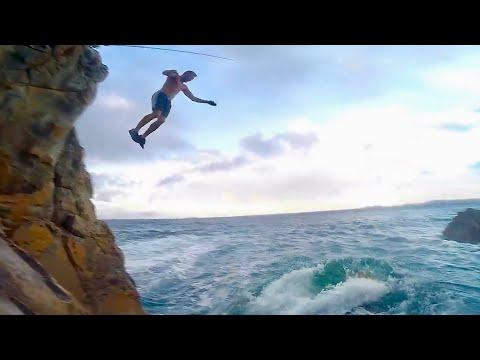Cliff Jump Onto Huge Fish