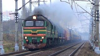 Мега бригада Тепловозы 2М62 0430 ТЭМ18Д 139 ТЭМ2 6408 с хозяйственным поездом