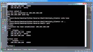 Python Reverse Shell Tutorial - 15 - Running The Multi-Client Program Live