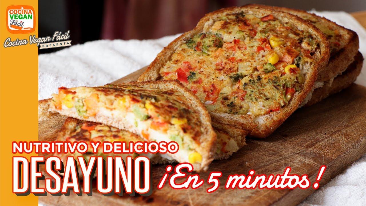 ¿Tienes pan y unas verduras? Prueba este nutritivo desayuno ¡En 5 minutos! - Cocina Vegan Fácil