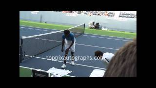 Gael Monfils - Signing Autographs at the 2011 U.S. Open in Flushing Meadows