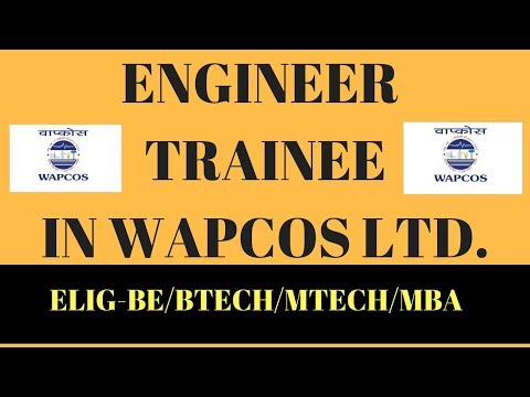 ENGINEER TRAINEE JOBS IN WAPCOS LIMITED