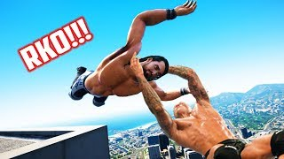 GTA 5 WRESTLING LIKE IN WWE #29 ( RKO, Spear, Powerslam and more!)