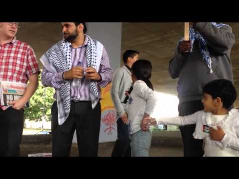 Khadija Ali Khan leading Peace March for Palestine City cen