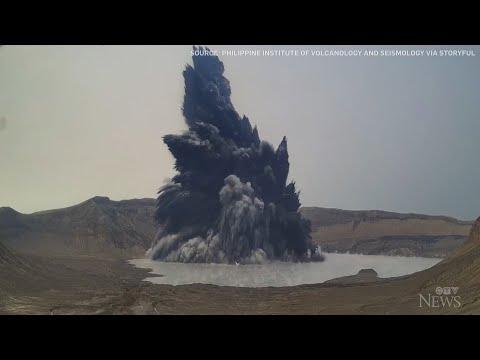 Philippine volcano erupts, spews gas and steam