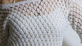 Ажурный узор. Простой ажурный узор крючком. Вязание для начинающих. Схемы.