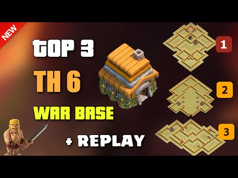 Clash Of Clans - TOP 3 TH6 (Town Hall 6) WAR BASE 2016 + REPLAY ♦  Best TH6 War Base